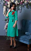 Однотонное женское платье с аппликацией роза (207)