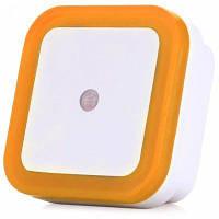 Квадратная форма свет датчика СИД штепсельной вилки стены небольшой ночник 220В Жёлтый