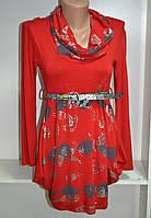 Платье туника длинный рукав трикотаж под пояс