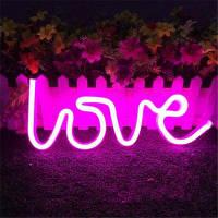 Светодиодный любовь Неон ночь свет Светильник стены украшения праздника USB
