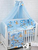 """Детская постель ТМ «ASIK» ( 8 элементов) """"Мишка на лесенке"""" голубого цвета, № 42"""