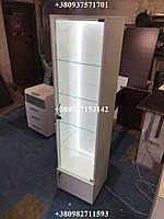 Витрина (шкаф, пенал) с подсветкой, дверца внизу МДФ. Модель V207 цвет белый, фото 1