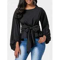 Женская Блузка С Лентой-Бантом На Поясе И Рукавами Колокола XL