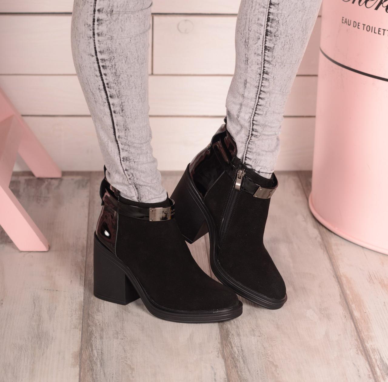 991709afe Женские замшевые ботинки на небольшом широком каблуке, осенние, ...