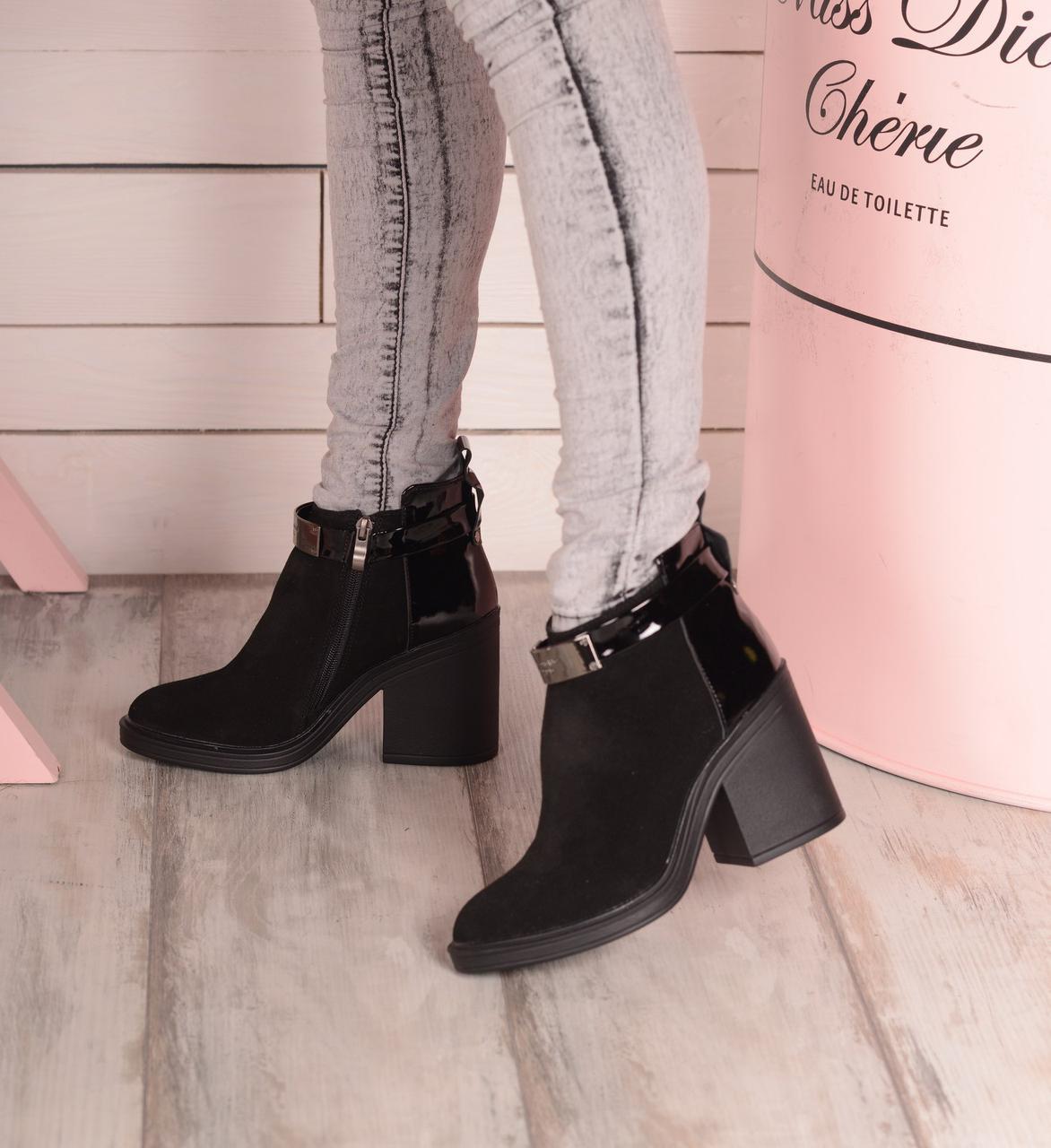 0e22c8fc2 Женские замшевые ботинки на небольшом широком каблуке, осенние - Интернет  магазин Обувной Пассаж в Киеве