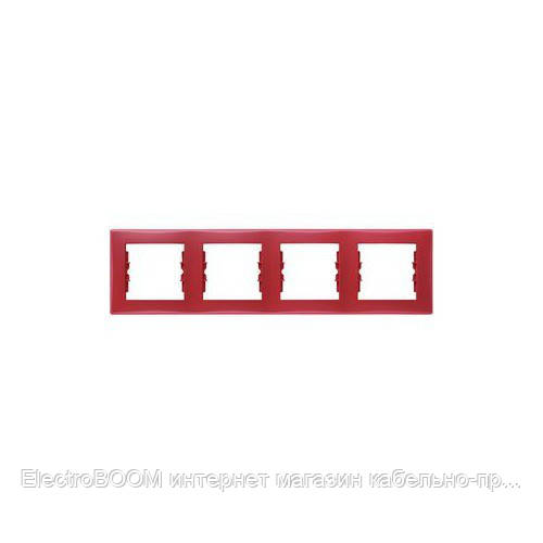 Четырехпостовая рамка Schneider Sedna Красный (SDN5800741)