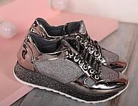 Кроссовки на толстой подошве цвета никель, фото 1
