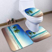 3шт/комплект пляж кокосовая Пальма фланель туалет Коврик для ванной Синий