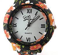 Часы наручные, Geneva, Цветы, Цветастый браслет, Белый циферблат, Римские цифры + метки