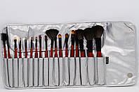 Набор кистей для макияжа, 18 шт.  серебро