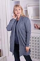 Кардиган женский вязаный на каждый день цвет джинс., фото 1