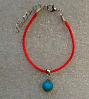 Красная нить оберег натуральная голубая Бирюза (пресс) 8 мм