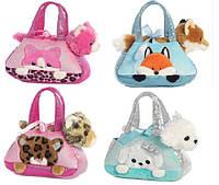 Мягкая игрушка животное в сумочке, 4 вида, в п/э 20*8*16см /80/(CLG17052)