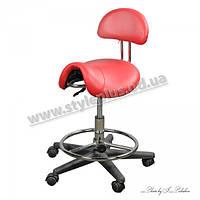 Стул седло ZD-2110 со спинкой для парикмахера, Красный