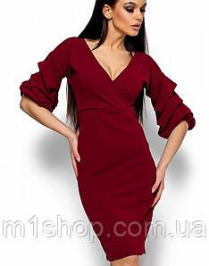 Женское платье с декольте и рукавами в складку (Черри kr)