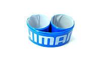 Светоотражающая защита штанов от попадания в цепь, синяя SHIMANO (фликер)