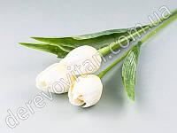 Тюльпаны искусственные, белые, 3 шт., 44 см