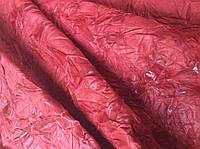 Натуральная кожа красная с эффектом жатка, фото 1