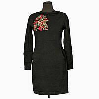 Платье трикотажное черное  Вышитое