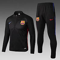 Футбольный костюм Барселона, сезон 17-18 (черный, короткая змейка)