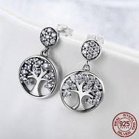 Горный хрусталь дерево жизни серьги серебро Серебристый