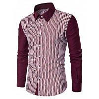 Мужчин Кнопка Вниз Повседневная С Длинным Рукавом Сращивание Рубашка XL