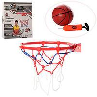 Баскетбольное кольцо M 3372  25см, металл,сетка,мяч19см,насос,крепеж, в кор-ке,27-29-5см