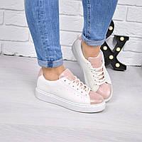 Кроссовки криперы белые и пудра, спортивная обувь