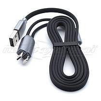 Кабель 2в1 USB to Lightning + micro USB, плоский прорезиненный кабель, 1м, фото 2
