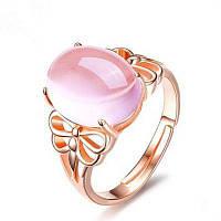 Искусственный Кристалл Драгоценный Камень Стрекоза Овальный Кольцо Розовый золотой