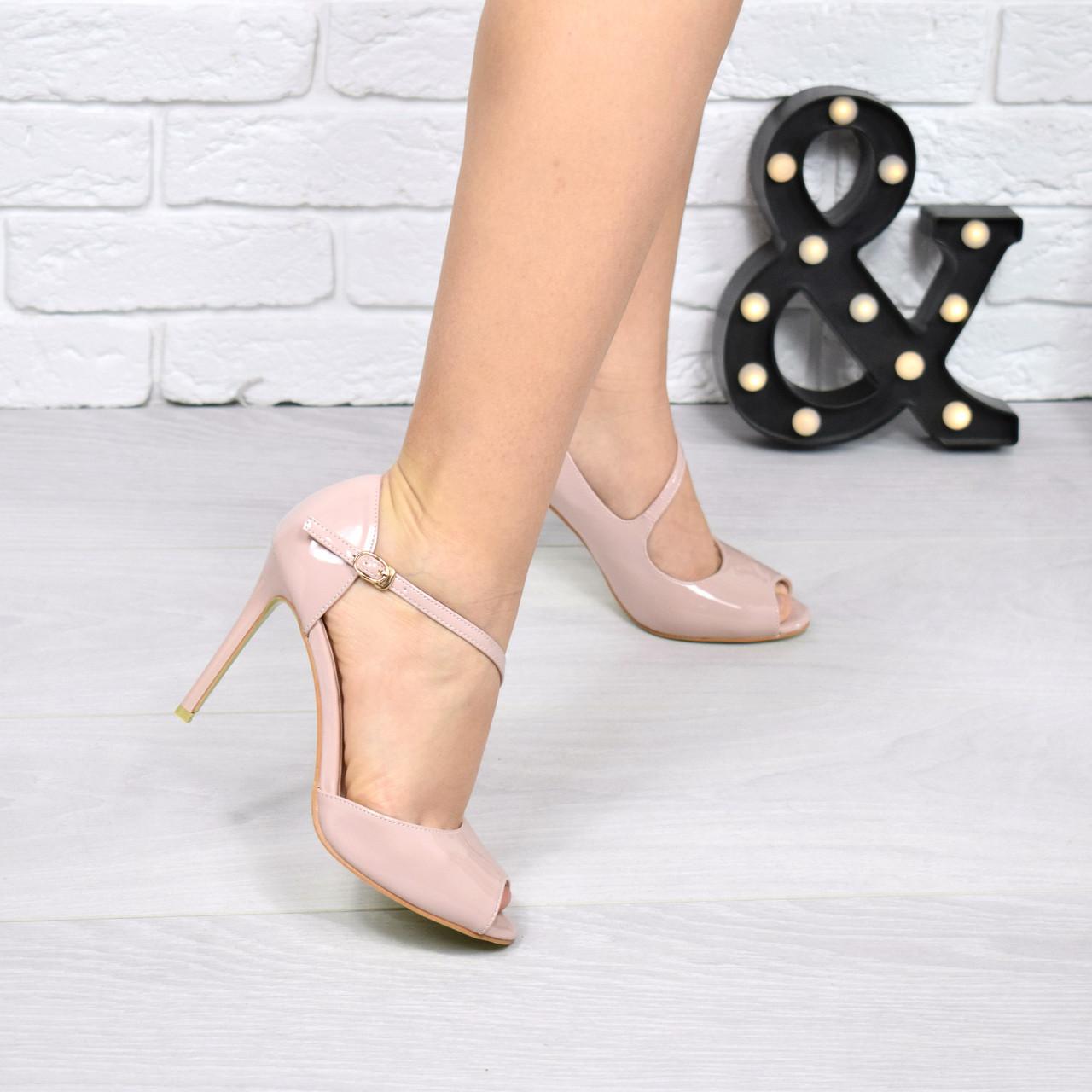 (ТОЛЬКО 35 И 40 РАЗМЕРЫ) Туфли женские лодочки пудра лак