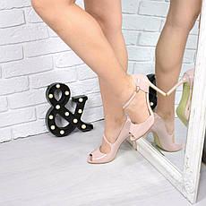 (ТОЛЬКО 35 И 40 РАЗМЕРЫ) Туфли женские лодочки пудра лак, фото 2