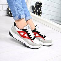 Кроссовки женские серый + красный, спортивная обувь
