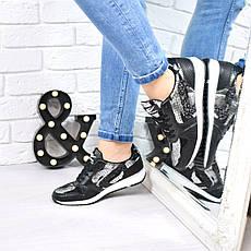 """(ТОЛЬКО 37 И 38 РАЗМЕРЫ) Кроссовки, кеды, мокасины женские, черные, """"Рептилия"""", кроссовки украина, обувь, фото 3"""