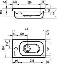 Умывальник RAVAK Chrome 400x220 L левый XJGL1100000, фото 3