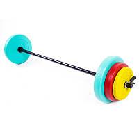 Фитнес штанга цветные блины 20кг, IronMaster