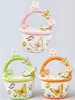 "Корзина для яиц ""Певчий сад"" декоративная из керамики 26см"