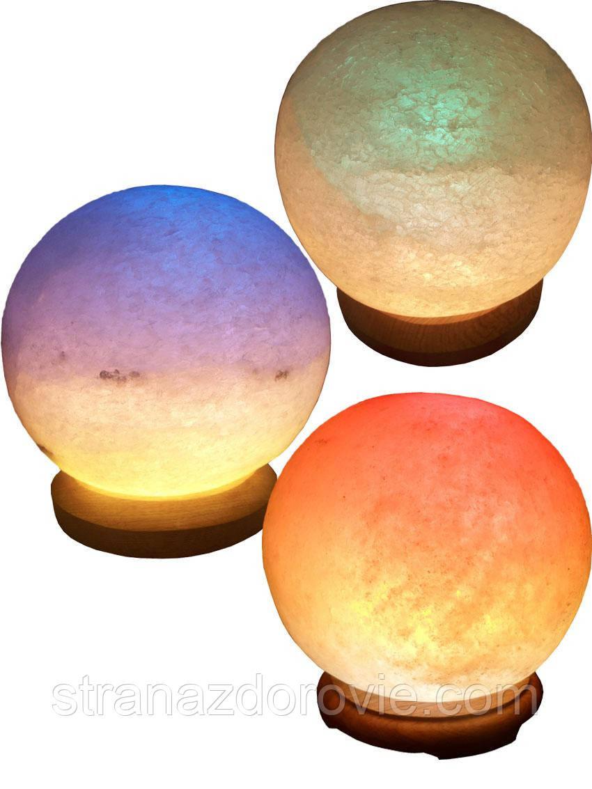 Соляна лампа «Куля» 6-7 кг кольорова лампа