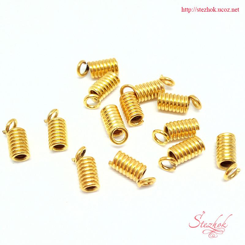 Концевик-пружина фиксатор 6х3,5мм для рукоделия цвет золото