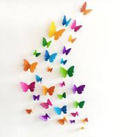 Домашний Декор Комплект Стикеры На Стену В Виде 3D Бабочки Цветной