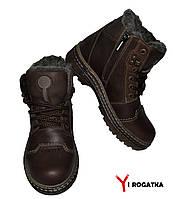 Подростковые зимние кожаные ботинки. Коричневые