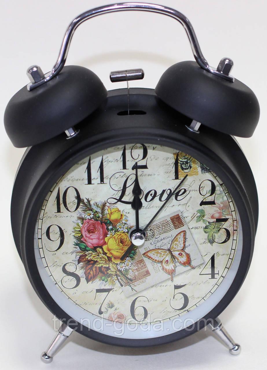 Часы будильник настольные, черно-серые с цветами