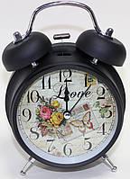 Часы будильник настольные, черно-серые с цветами, фото 1