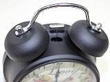 Часы будильник настольные, черно-серые с цветами, фото 2