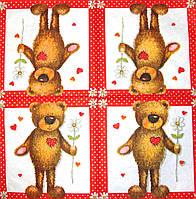 Декупажные салфетки мишка с цветочком 239 (пачка 20)