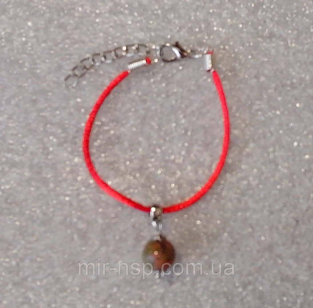 Красная нить оберег натуральный камень Яшма зелено-красная