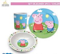 Набор детской посуды Peppa Pig, керамика, 3 предмета