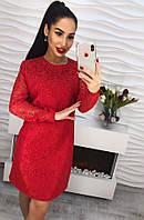 Красивое вечернее платье жаккард с кужевом и жемчугом розовый, красный