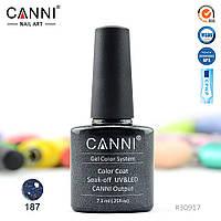 Гель-лак Canni 187 напівпрозорий чорний з голографічними блискітками 7.3 ml