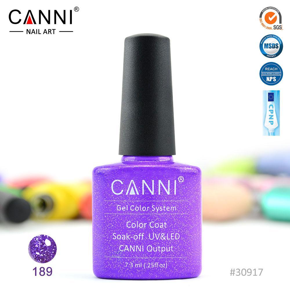Гель-лак Canni 189 бузковий з дрібними блискітками 7.3 ml